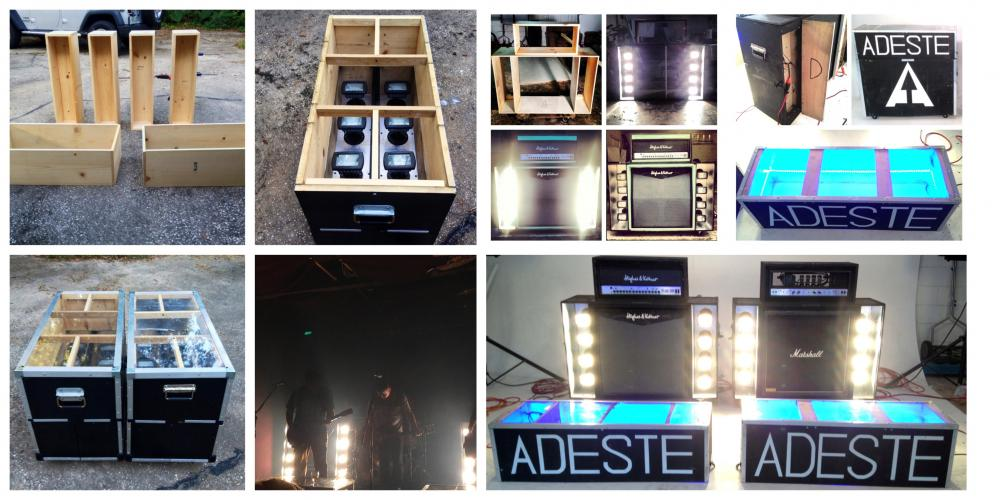 This is the road case/lighting rig I built for my band.  It was my first woodworking project - the one that got me hooked on building gear.