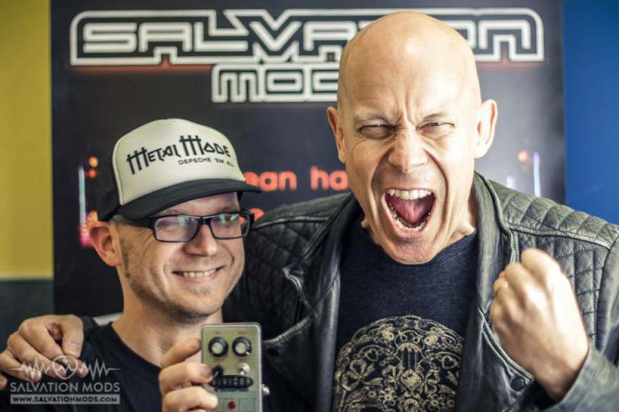 Tony and Wolf Hoffmann of Accept and Vivider octaver pedal that Tony designed for Wolf - Wolf Hoffman and his Vivider pedal