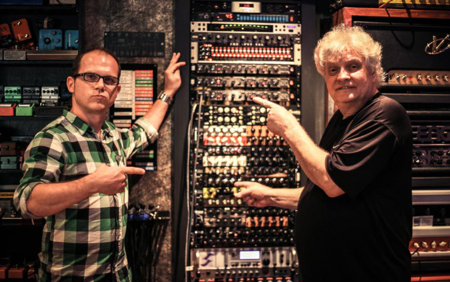 Tony Nashville and his mod rack - Tony and producer Michael Wagener + rack full of preamp modules, most of them built by Tony