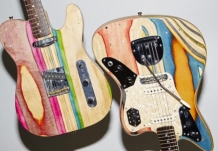Telecaster and Jaguar made from used skateboards