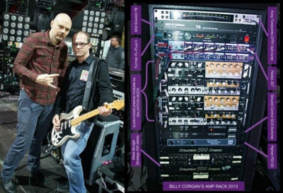 Tony and Billy Corgan of Smashing Pumpkins and Billy Corgan rack loaded by preamps built by Tony